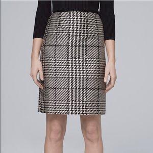 WHBM Black & White Plaid Boot Skirt